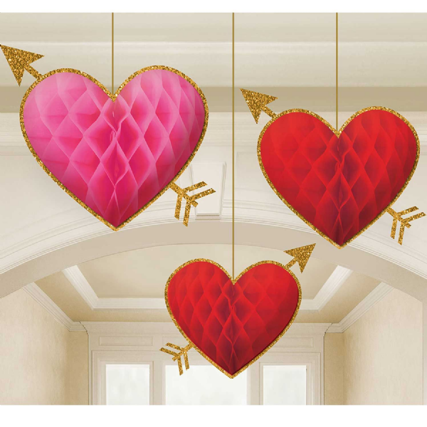 Honeycomb Red Heart Decorations
